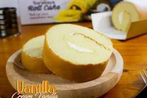 Roll Cake Vanilla Cream Vanilla